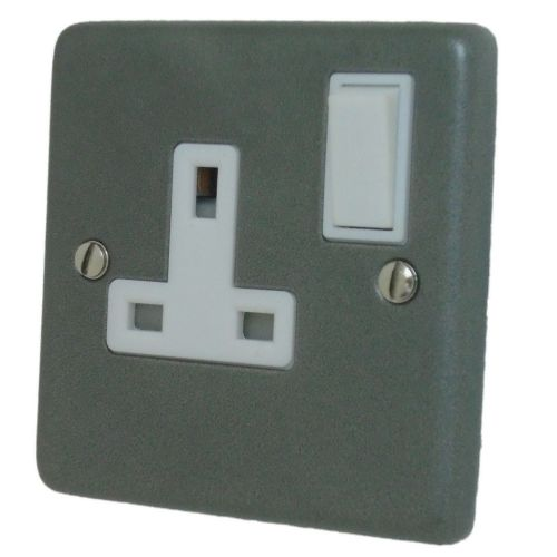 G&H CP9W Standard Plate Pewter 1 Gang Single 13A Switched Plug Socket